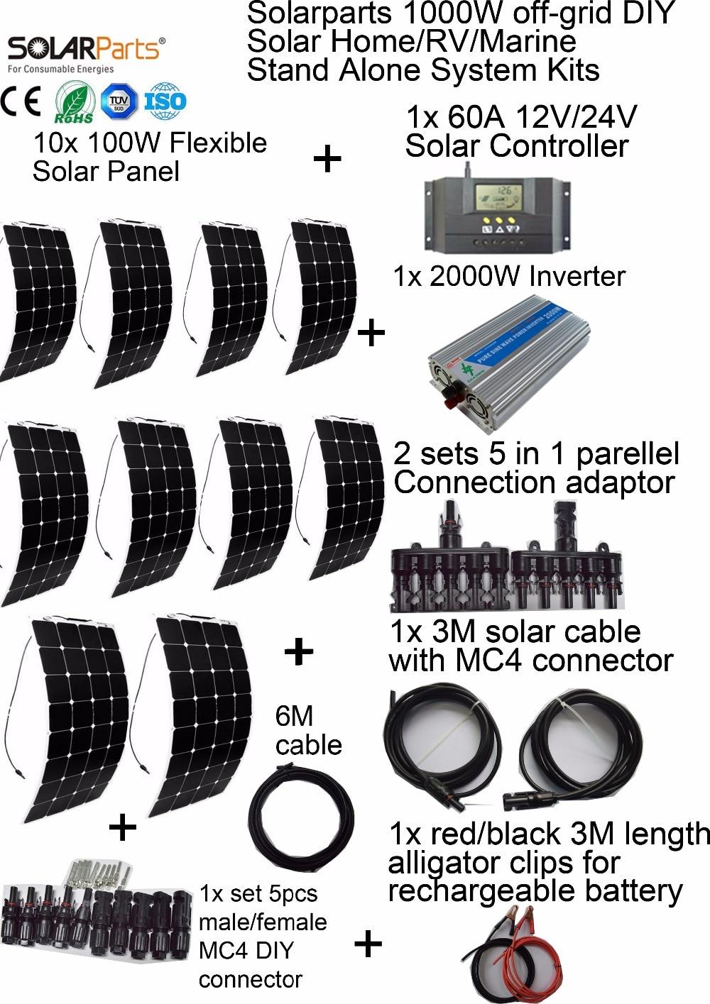 இSolarparts 1000W off-grid Solar © System System KITS