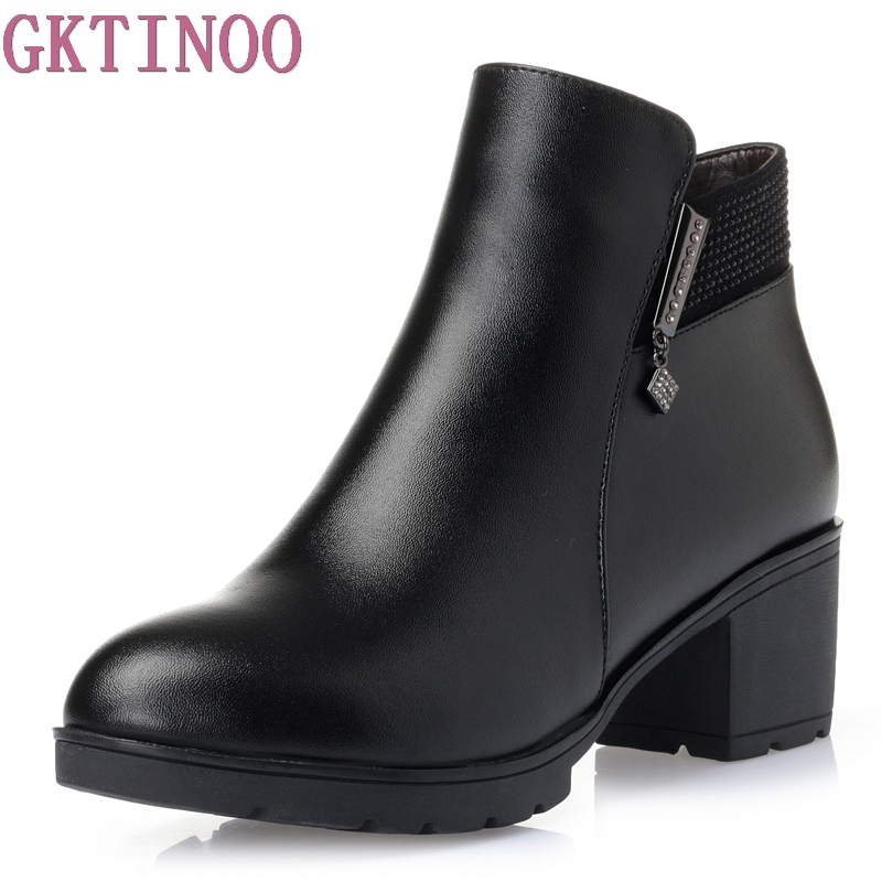 Fashion 2018 Women Fur Snow Boots Winter Warm Genuine Leather Platform Shoes Woman Ankle Boots Thick Heels Botas Mujer Zapatos odeon light veado 2697 1w