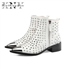 Xiuningyan Cow Leather Women Ankle Boots Pointed Toe Footwear Rivet Square Heels Female Western Boot Fashion Shoes Woman 2019