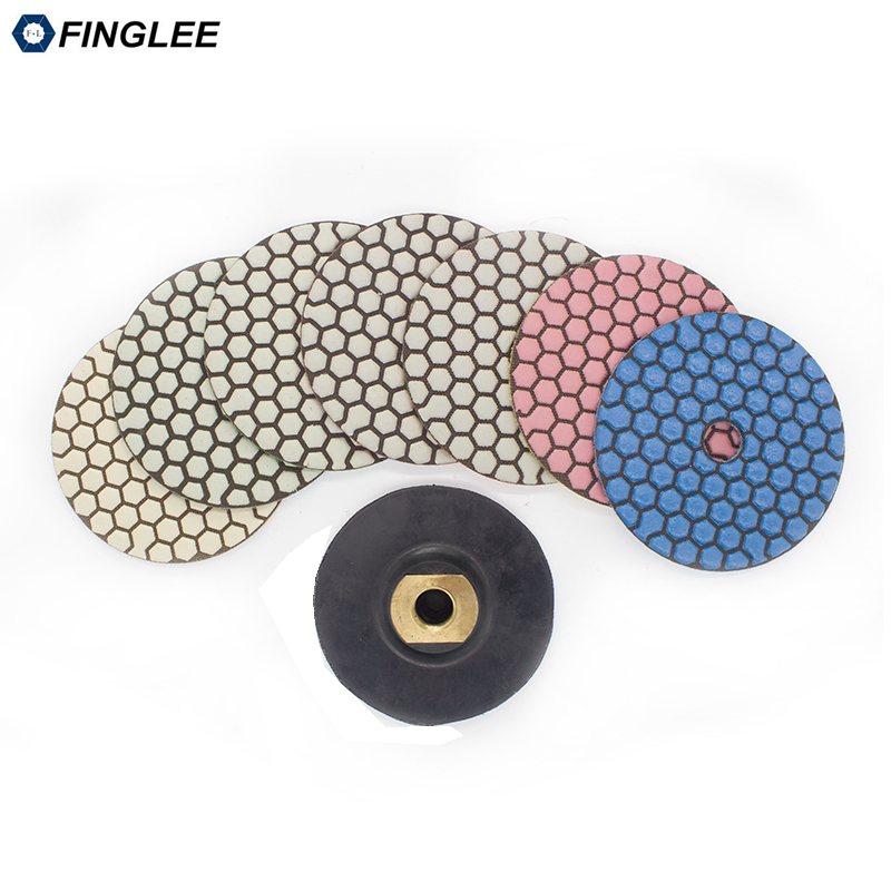 4 inch Dry Diamond polishing pad 7pcs+ Soft Flexible Backer for Granite,marble, Ceramic Stone work restoration Grinding Disc 2 inch 3 inch 4 inch soft polishing pad buffing wheel for wood plastic ceramic metal grinding and polishing