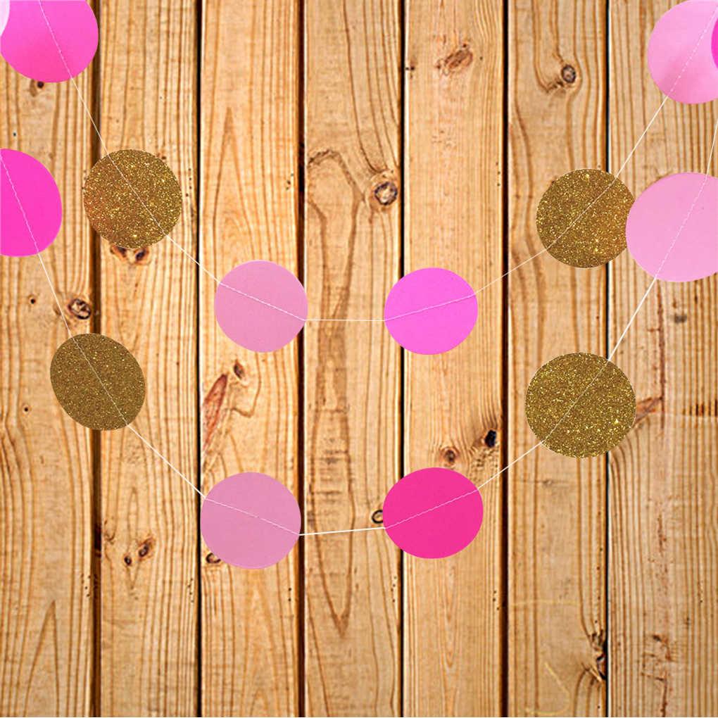 Круглая Бумажная доска Потяните цветок Висячие Гирлянда из папиросной бумаги веревка свадебный Декор Круглый Потяните цветок висячие ткани 2 м