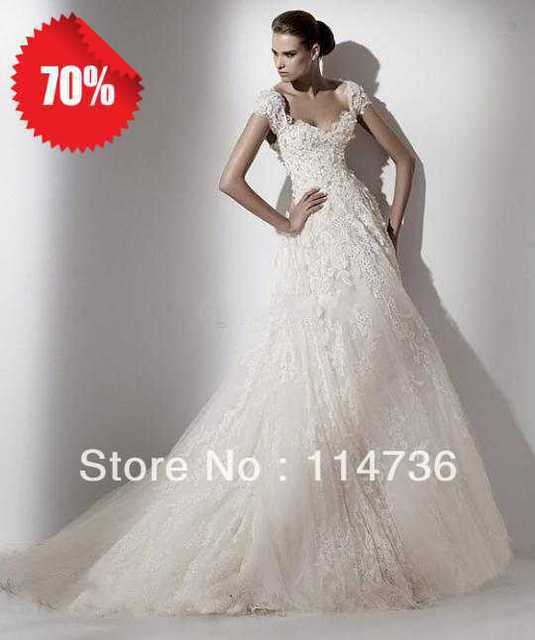 78e4c22da0f6 2012 Hot sale Elie Saab Cap sleeves A-line Chapel Train Lace Applique Beads  backless Lave Vintage wedding dresses Ivory gowns
