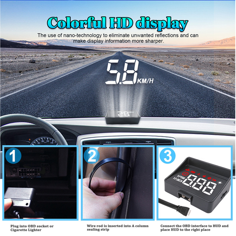 Image 5 - GEYIREN Car hud a100s obd hud display windshield projector temperature hud display car car electronics Overspeed Warning System-in Head-up Display from Automobiles & Motorcycles