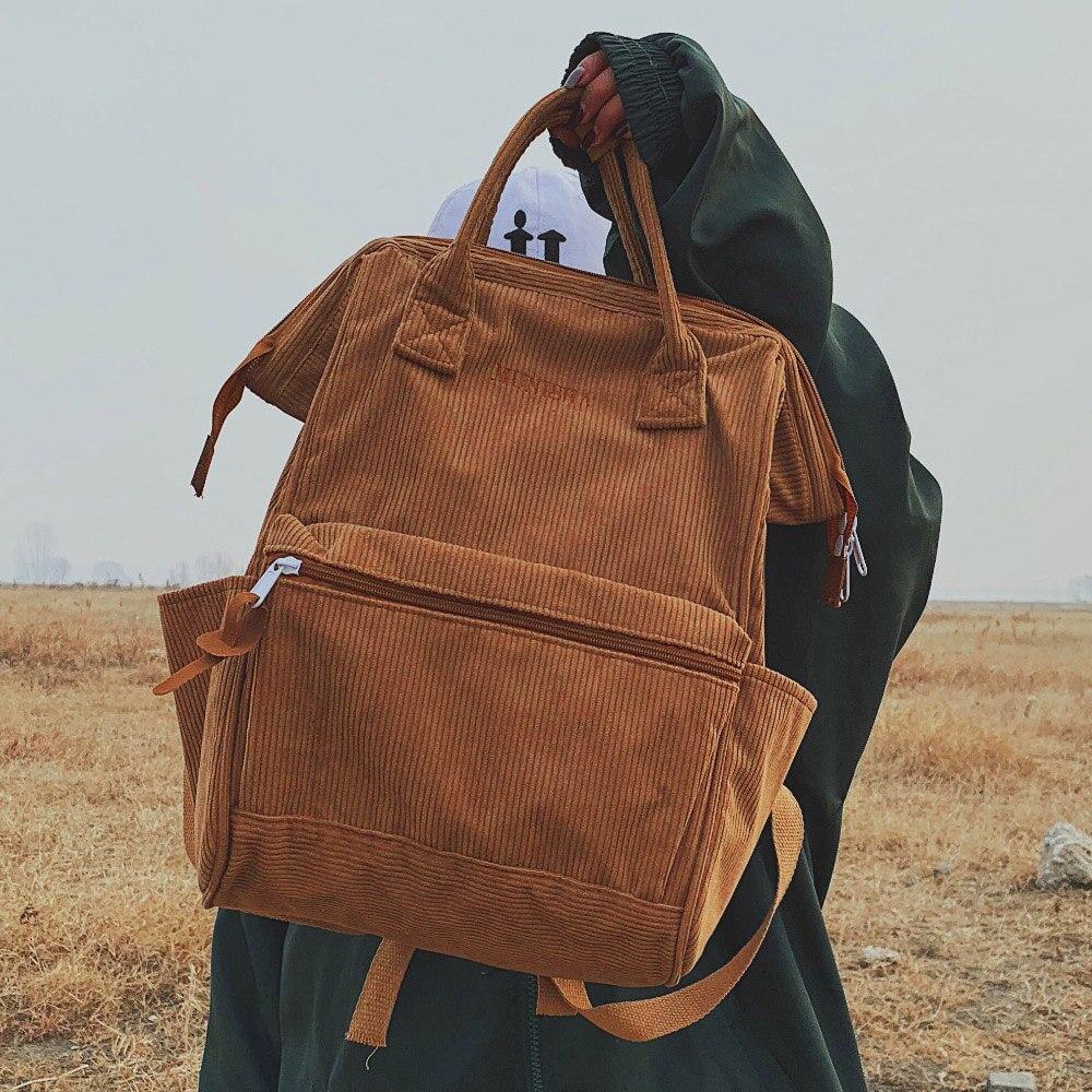 Mochilas de pana para mujer 2019 moda invierno Casual estilo señoras Color sólido Back Pack mujeres adolescentes niñas mochila escolar