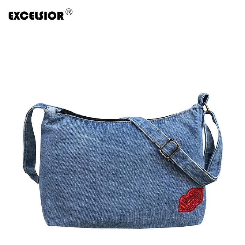 EXCELSIOR Women's Shoulder Bag Bolsa Feminina Denim Vintage Crossbody Bags For Women Designer Handbags High Quality Bolso Mujer