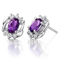 Natural Amethyst Earring Stud 925 Sterling silver Woman Fine Elegant Purple Crystal Jewelry Girl Birthstone Christmas Gift
