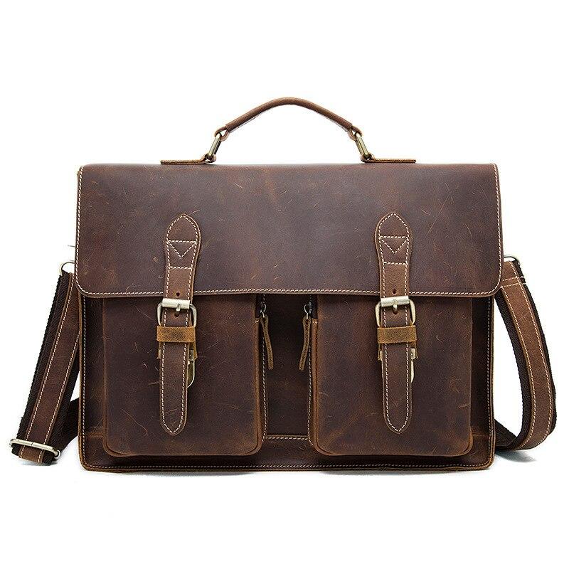 Vintage Crazy Horse Leather Men Briefcases Business Bag Tote Genuine Leather 15inch Laptop Briefcase Men Shoulder Bag Handbag технический фен bosch phg 630 dce 060329c708