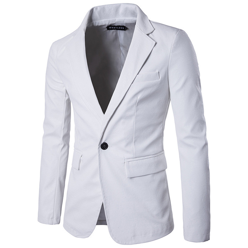 Men's Fashion Pure Color Leather Casual Single Row Buckle Leather Suit Coat Offices Classic Suit Formal Jacket Man L15#