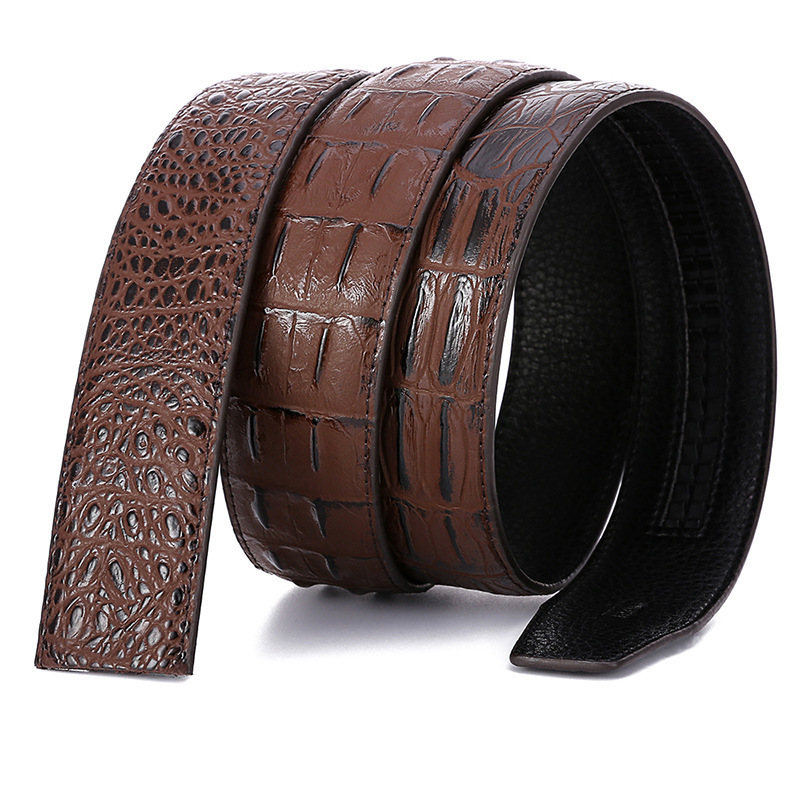 High Quality Luxury No Buckle Belt Mens Fashion Crocodile Grain Designer Genuine Leather Waist Strap Automatic Buckle Upscale