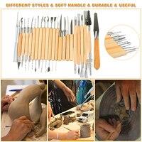45pcs/Set Wooden Ceramic & Clay Sculpting Pottery Art Tools Kit with Plastic Case @LS FE02
