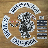 2015 Original Son Of Anarchy Jacket Back Embroidered Patches Motorcycle Biker Patch Skull Badge Full Back