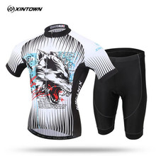 XINTOWN New pattern wolf Short-sleeved Cycling Suit Bike Bicycle Moisture Wicking Underwear Bike Jersey Clothes Suit