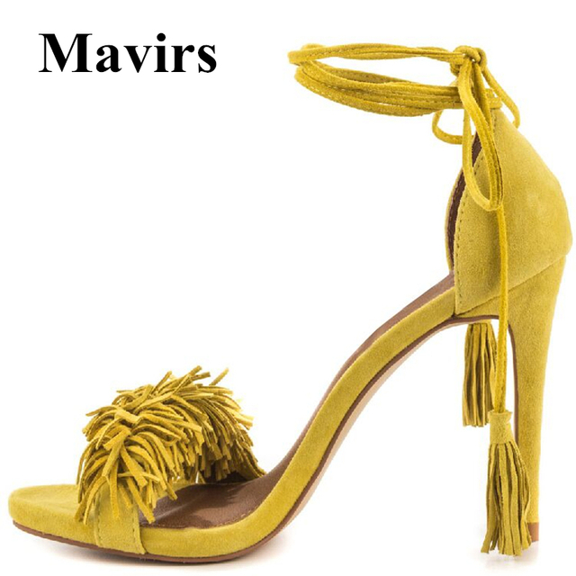 719b3efd720 MAVIRS Brand Women Gladiator Sandals 2018 Summer 12CM Extreme High Heels  Faux Fringe Yellow Stilettos Shoes US Size 5-15