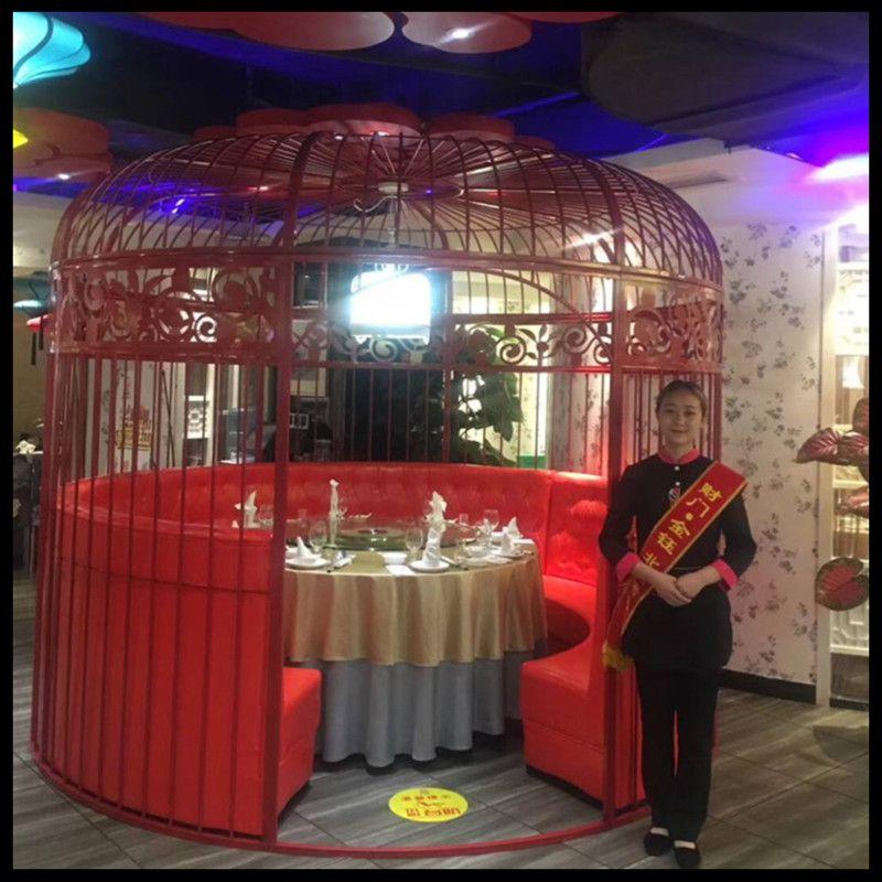 Fer forgé décoratif oiseau cage ameublement hot pot restaurant restaurant oiseau cage carte siège extérieur grande cage