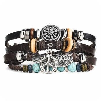 Vintage Multilayer Leather Bracelet for Men Bracelets Jewelry Men Jewelry New Arrivals Metal Color: BJDY617