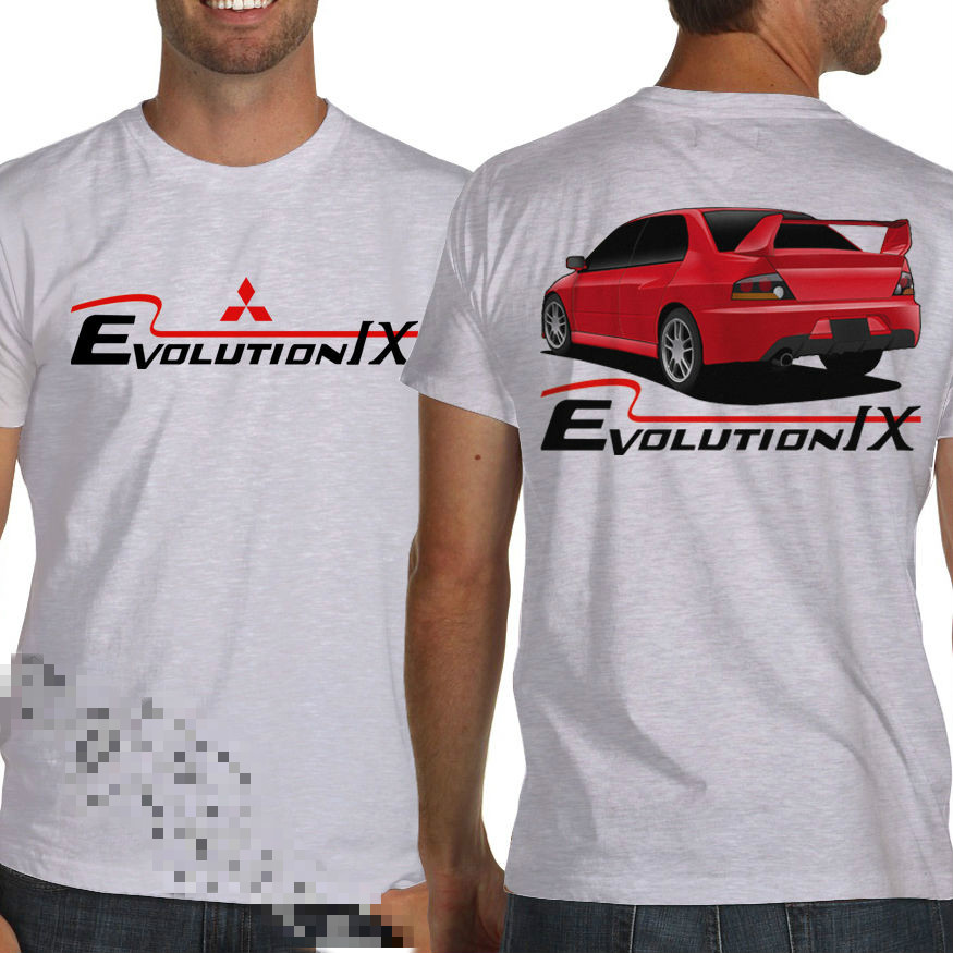 Lancer Ralliart Evolution IX White or Gray Jdm T-Shirt Evo 9 Rally WRC Printed Round Men T shirt Cheap Price top tee