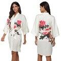 Alta Qualidade Cetim Robes Sexy Print Floral Kimono Robe de Casamento Da Noiva Da Dama de honra Das Mulheres Camisola Sleepwear Roupão Loungewear