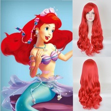 70cm Anime The Little Mermaid Princess Ariel Cosplay Wig Halloween Play Party Stage Synthetic Red Wavy Hair