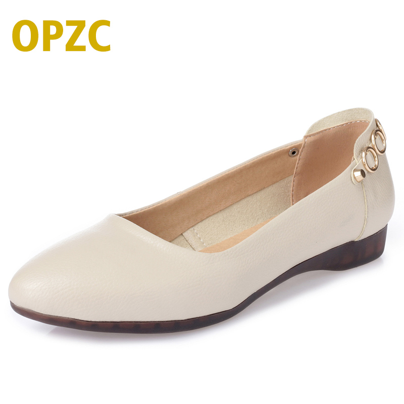 OPZC Genuine leather Women Flats .solid slip on casual shoes. Spring summer Lady Slip On Loafers. comfortable women Casual Shoes