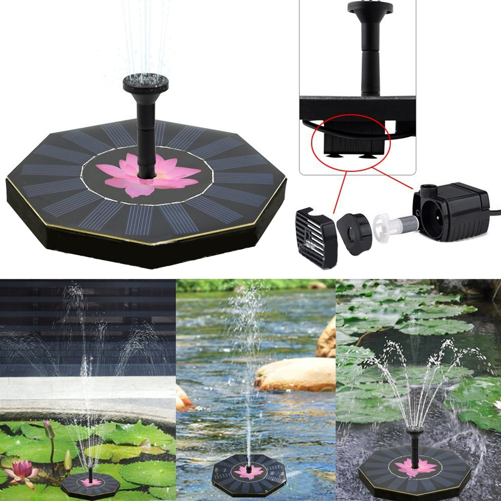 Octagon Solar Fountain Pool Floating Water Pump Irrigation Panel Automatical Garden Plant Watering Kit for Birdbath Fountains