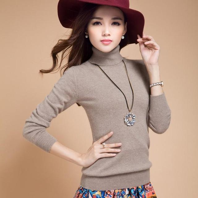 330feaf9b3 Sweater turn-down collar solid color women basic sweater Female cashmere  sweater pullover high collar