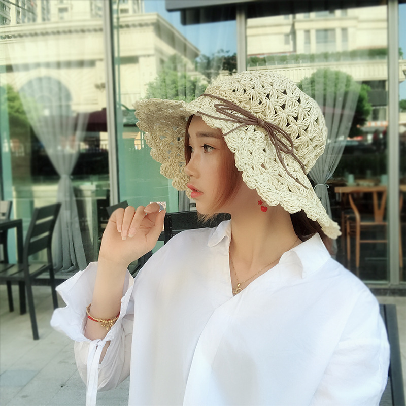 ARROW CAR Beach Hat Lady Summer Sun Hat Hollow visor Collapsible Seaside Leisure Hollow Dome Tie Dye Big Hat woman