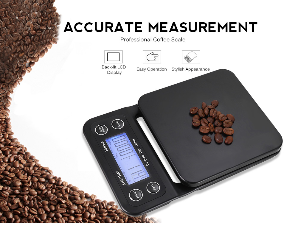 Digital Kitchen Food Coffee Weighing Scale + Timer with Back-lit LCD Display