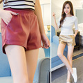2xl plus size shorts women summer 2016 bermuda feminina pu leather shorts elastic waist thin wide legged pants female A1404