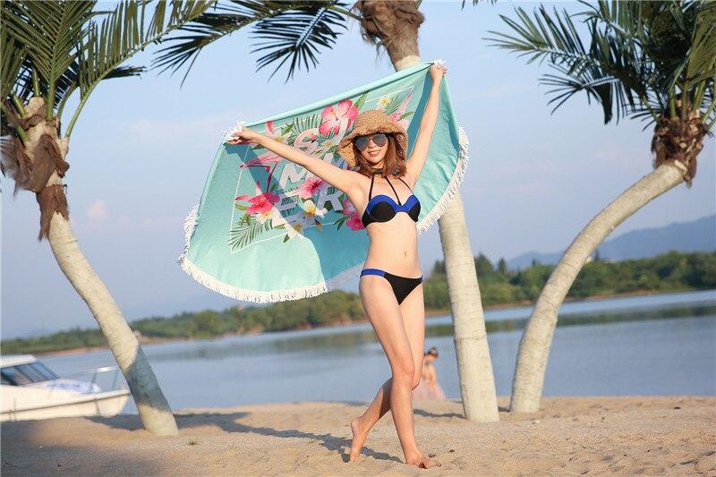 HTB1A2.USpXXXXXZXFXXq6xXFXXXt - Round Style Microfiber Beach Towel - Flamingo With Tassels Design