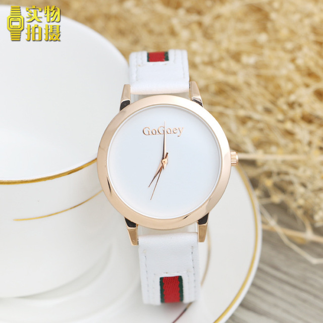 af35f5268743 2018 nueva moda Gogoey marca de oro rosa Relojes de Cuero del cuarzo de las  señoras