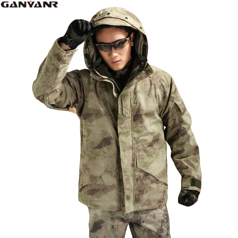 GANYANR Brand Winter Jacket Men Hunting Clothes Ski Outdoor Rain Hiking Clothing Windstopper Waterproof Fleece Polar Sports