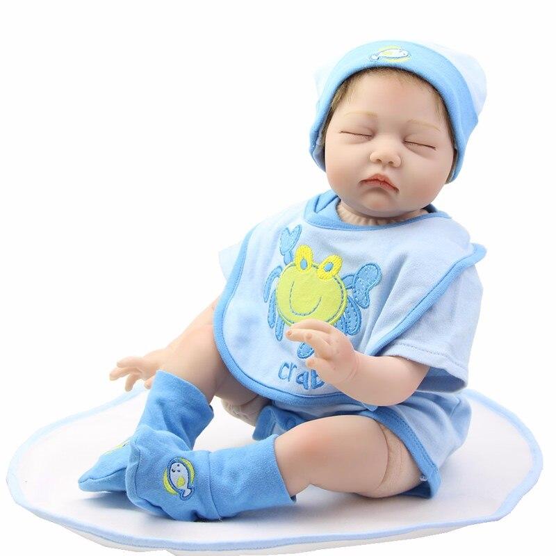 22 inch Realistic New Born Baby Doll Realistic Fashion Doll Reborn Sleeping Finished Toy Kids Birthday Gift