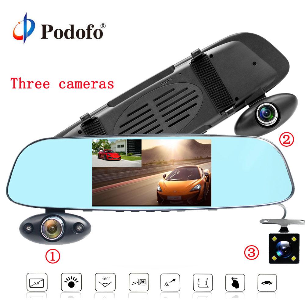 Podofo FHD 1080P Car Dvr Camera Auto 5 Inch Rearview Mirror Digital Video Recorder Three Lens Registratory Camcorder DashcamPodofo FHD 1080P Car Dvr Camera Auto 5 Inch Rearview Mirror Digital Video Recorder Three Lens Registratory Camcorder Dashcam
