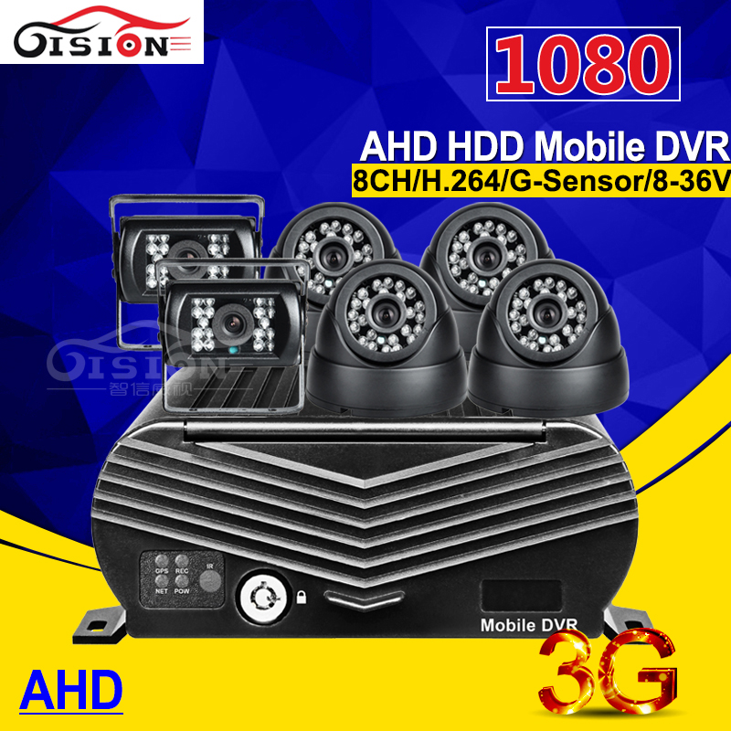 Software Free 8CH 3G GPS AHD HDD Mobile Dvr Remote Real Time Video 1080 Hard Disk Mdvr Recorder With 6Pcs HD AHD Car Camera Kits image