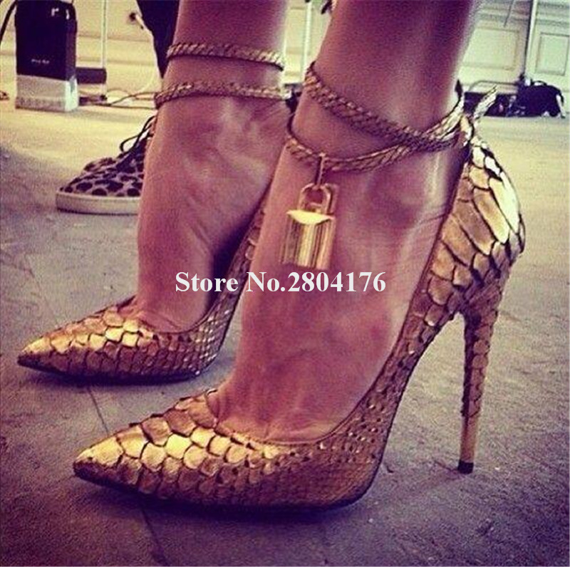 Brand Design Women Fashion Pointed Toe Pattern Leather Gold Lock Thin Heel Pumps Ankle Straps High Heels Club Dress Shoes цена