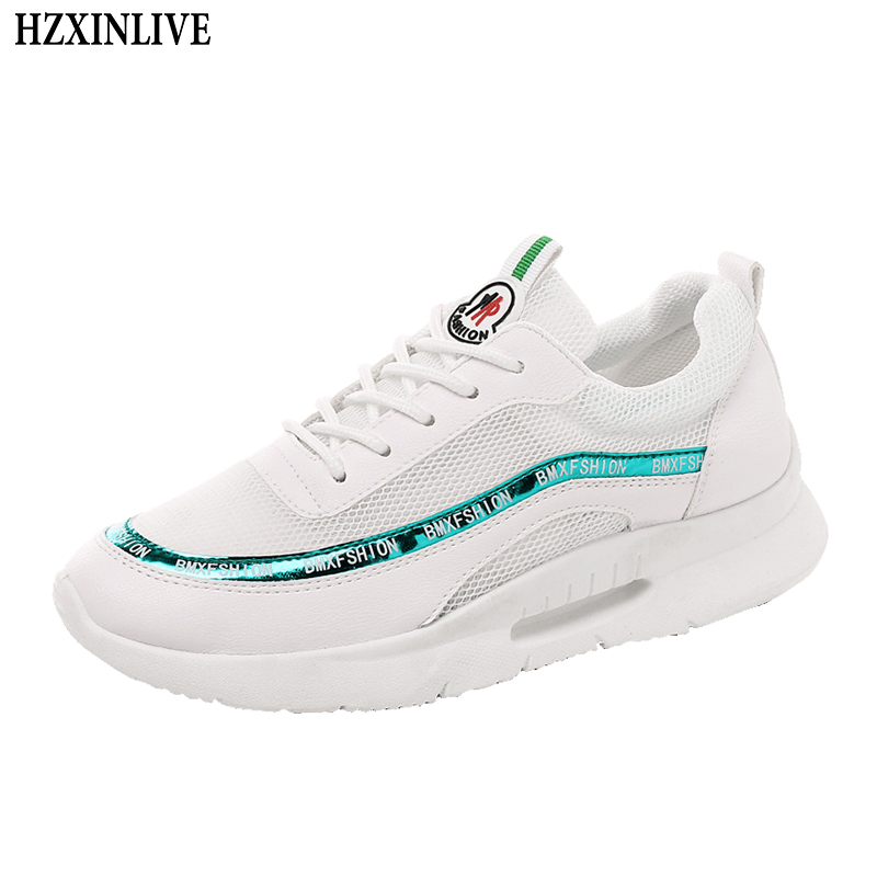 цена HZXINLIVE 2018 Women Vulcanized Shoes Sneakers Ladies Lace Up Casual Shoes Breathable Walking Mesh Flat Shoes tenis feminino M53