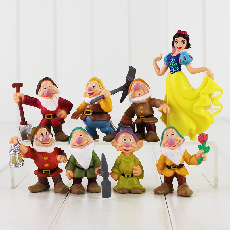 New Anime 8pcs set Seven Dwarfs And Princess Snow White PVC Figure Doll font b Toys