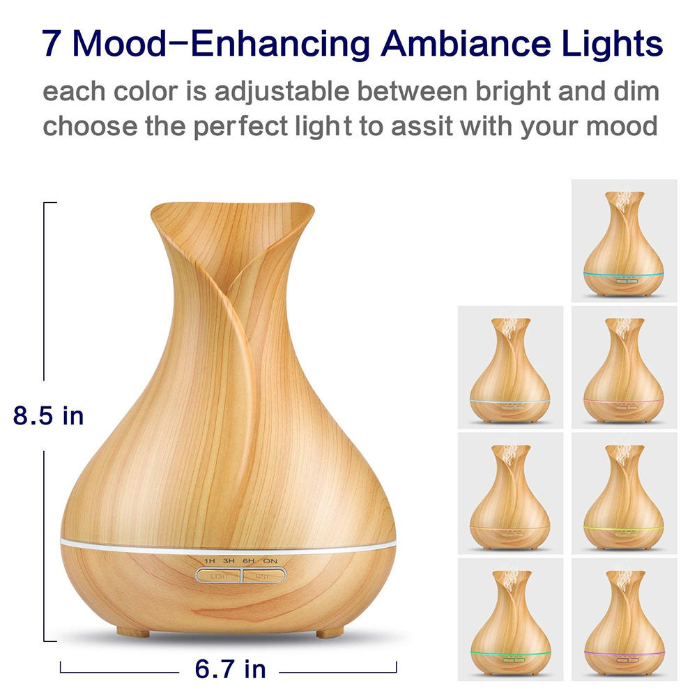 DEKAXI Electric 400ml Ultrasonic Air Humidifier Aroma Essential Oil Diffuser With Wood Grain 7 Changing Led Lights For Bedroom