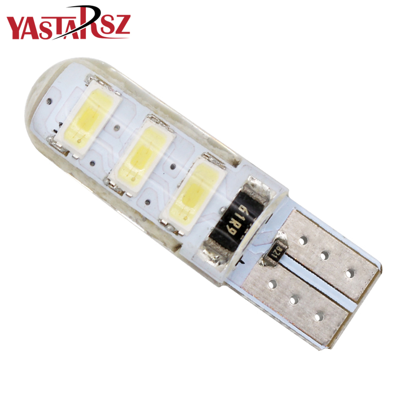 цены 1pcs T10 W5W Silica Gel 6 SMD 5630 5730 LED car interior light WY5W 194 501 LED wedge parking dome bulbs Turn Side lamps 12V