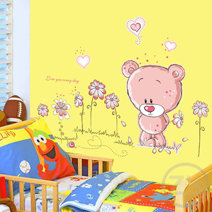 Pink Bear Headboard Wall Sticker for Kids Room Home Decor ...