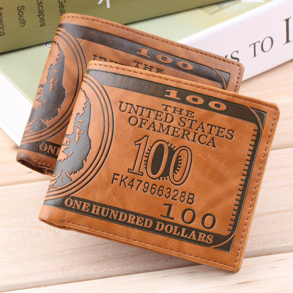 Drop Shipping 1 Piece US Dollar Bill Wallet Brown PU Leather Wallets Bifold Credit Card Photo Thrifty For Men Women Hot fashion mens wallets 2015 us dollar bill wallet brown pu leather wallet purse for man bifold credit card photo male money bags
