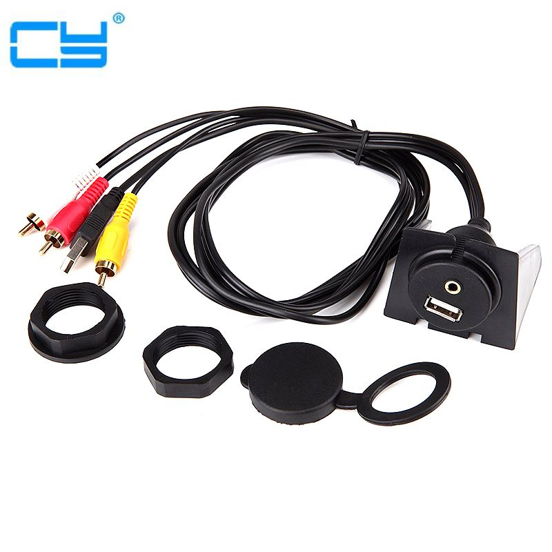 Car Boat Flush Mount Dual USB 2.0A Male To 2x Extention USB Cable Hub 1M//3ft AUX