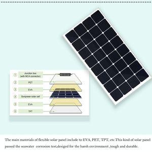 Image 2 - XINPUGUANG 100 واط 18 فولت أو 16 فولت مرنة خلية لوحية شمسية 100 واط وحدة أحادية البلورية sunpower الطلاء الشمسية 12 فولت شاحن بطارية
