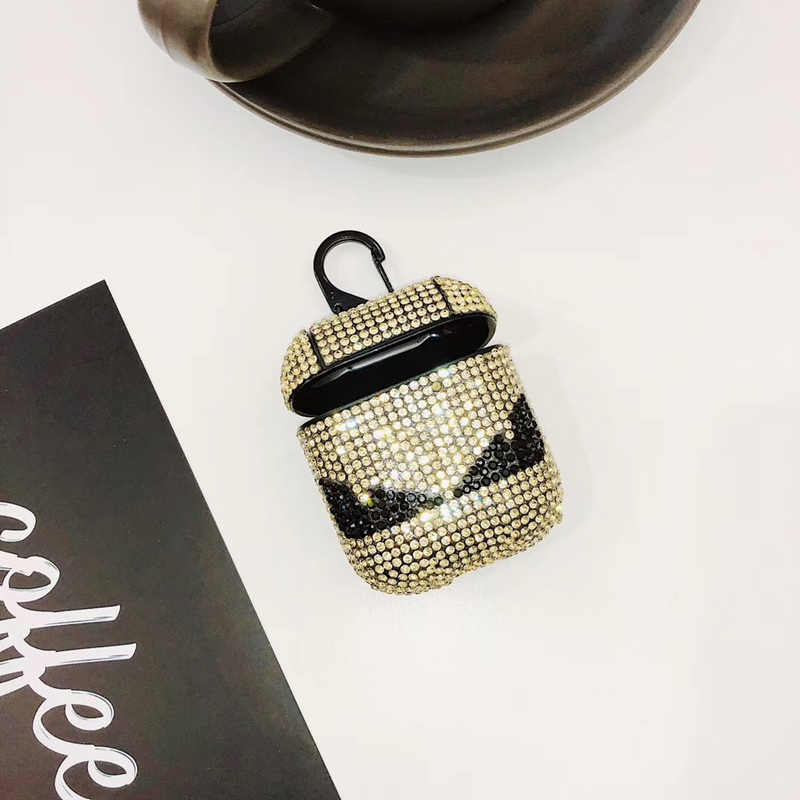 Luksusowe markowy diament diabeł oko śmieszne słuchawki zestaw słuchawkowy akcesoria twardy futerał dla Airpods bezprzewodowy zestaw słuchawkowy bluetooth torba box