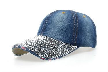 cowboy hat women Denim baseball cap Point drill pearl snapback Hat Outdoor Sport Rhinestone sun jean Hat casquette b111