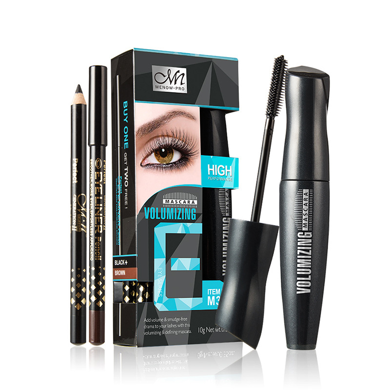 Menow 2018 eye makeup set professional black thick and long mascara mascara + 2pcs eyeliners pencil kit