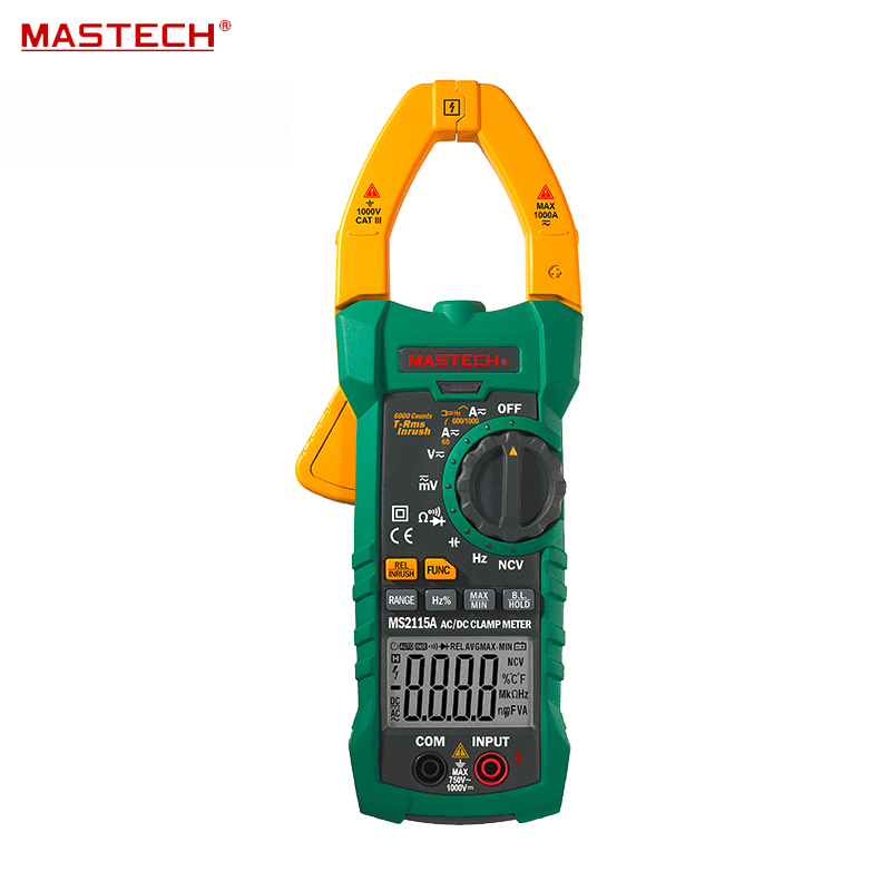 AUTO RANGE TRMS Digital Clamp Meter/100mF/HZ/NCV Voltage Detection MASTECH MS2115A mastech ms8260f 4000 counts auto range megohmmeter dmm frequency capacitor w ncv