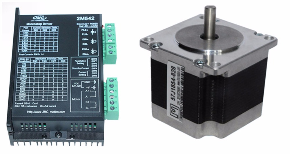 NEMA23 0.9Nm 127ozin Hybrid stepper motor driver kit 2phase 24-50VDC for CNC engraving cutting 57J1854-828+2M542 лампы освещение