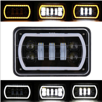 4X6 Led Headlight Square Light White Halo DRL Amber Turn Signal Sealed For Ford ATVs, SUV, truck, Fork lift, trains, boat, bus,
