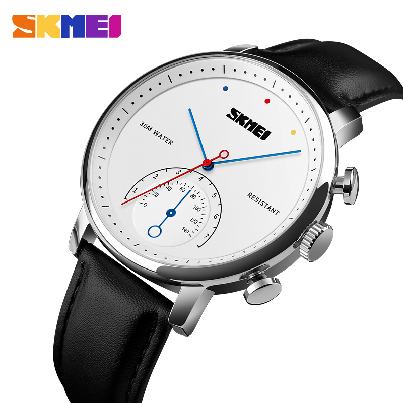 цена на SKMEI Business Quartz Men's Watch Luxury Leather Strap Alloy Case Watches Fashion Simple Waterproof Wristwatch Relogio Masculino